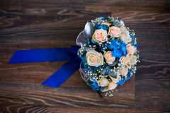 Wedding flowers, bouquet of pink roses and blue flowers, roses Stock Photography