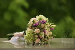Wedding Flowers Bouquet Rain Sprays Water Droplets Stock Images