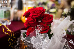 Wedding flowers. Bouquet red roses, bridal bouquet Royalty Free Stock Photo