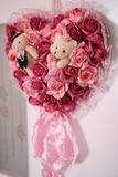 Wedding flowers bouquet with two bear dolls Royalty Free Stock Photography