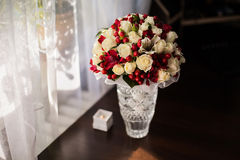 Wedding flowers, bouquet of white roses dairy and red flowers Royalty Free Stock Photos