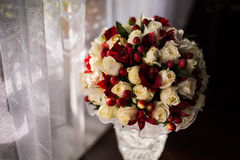 Wedding flowers, bouquet of white roses dairy and red flowers Royalty Free Stock Photo