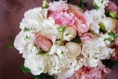 Wedding flowers, bridal bouquet closeup. stock photo