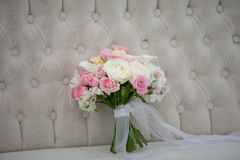 Wedding flowers bridal bouquet. Romantic blooming decor, decorat. Ion banquet Stock Photography