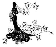 Wedding Flowers Bride Silhouette Pattern Stock Images