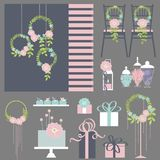 Wedding flowers, cake, decoration for chairs, bridal bouquet. Vector illustration Royalty Free Stock Photography