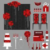 Wedding flowers, cake,gifts, decoration for chairs, bridal bouqu. Et. Vector illustration Stock Image