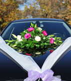 Wedding flowers on car Stock Photo