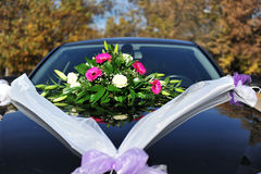 Wedding flowers on car Royalty Free Stock Image