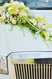 Wedding flowers on car Stock Image