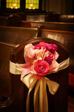 Wedding flowers in a church royalty free stock image