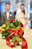 Wedding flowers in the church. Wedding day has come, magic flowers and a magical day Stock Photo