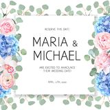 Wedding flowers and eucalyptus square vector design banner frame royalty free illustration