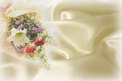 Wedding flowers and fabric. Wedding background with flowers and cloth Royalty Free Stock Image