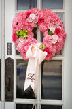 Wedding flowers on the front door of a church Stock Images
