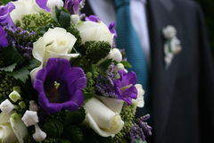 Wedding flowers groom Stock Photos