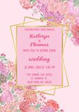 Wedding Flowers Invitation Card. Wedding invitation card with gold geometric artdeco element and pink flowers. Romantic exotic A4 mock up, template for greeting Royalty Free Stock Photos