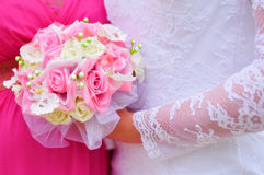 Wedding flowers. Lovely wedding bouquet with pink roses Stock Photo