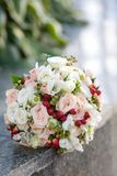 Wedding flowers. On a marble frieze Stock Images