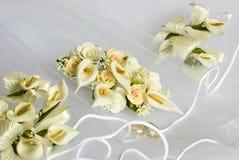 Wedding flowers over veil royalty free stock photos