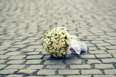 Wedding flowers on road Royalty Free Stock Photo
