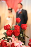 Wedding flowers and roses. Wedding day flowers in front view Stock Photo