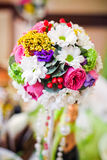Wedding flowers roses and daisies bright on the table Stock Photography