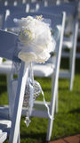 Wedding flowers on seat Stock Image