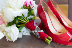 Wedding flowers and shoes Royalty Free Stock Images