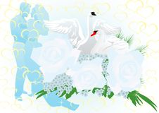 Wedding flowers and swans Royalty Free Stock Image