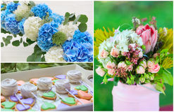 Wedding flowers and sweets collage Stock Photography