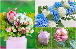 Wedding flowers and sweets collage Stock Images