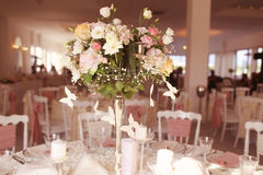 Wedding flowers on table Royalty Free Stock Photo