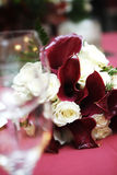 Wedding flowers. Tables set for fine dining Royalty Free Stock Photo