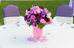 Wedding flowers - tables set Stock Photography