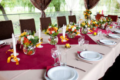 Wedding flowers - tables set for wedding Stock Photography