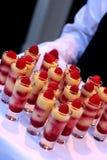 Wedding Food. Twenty glasses of strawberry parfait wait for wedding guests stock photography