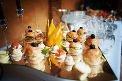 Finger foods for wedding appetizers fancy stock images