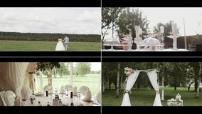 Wedding footage with the bride`s bouquet, rings and the beautiful dresses. stock video