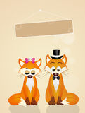 Wedding of foxes. Illustration of Wedding of foxes stock illustration