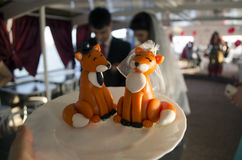 Wedding foxes royalty free stock image