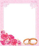 Wedding frame. With rings and roses Stock Images