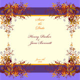 Wedding frame. Autumn wild grape background. Abstract design template. Royalty Free Stock Images