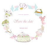 Wedding frame. With dove, shoe, bouquet Stock Photo