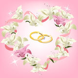 Wedding frame with flowers and wedding rings Royalty Free Stock Image