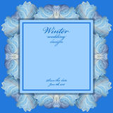 Wedding frame with winter frozen glass design. Text place. Royalty Free Stock Photography