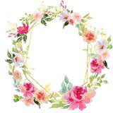Wedding frame wreath green and purple flowers ornament. Hand drawing watercolor Wedding frame wreath green and purple flowers ornament vector illustration