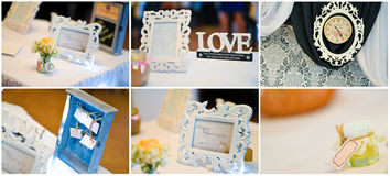 Wedding frames collage Stock Photos