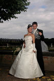 Wedding freshly marred. Couple in the park just marred royalty free stock photo