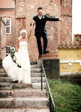 Wedding fun balance Royalty Free Stock Photography